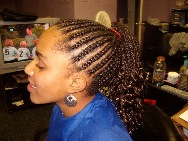 Cornrows With Ends Dipped To Crinkle